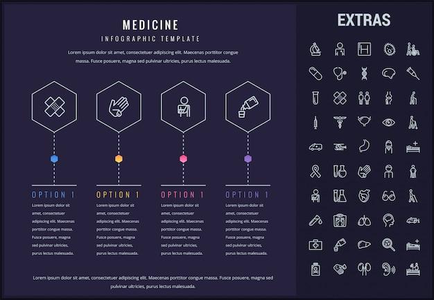 Медицина инфографики шаблон, элементы и значки