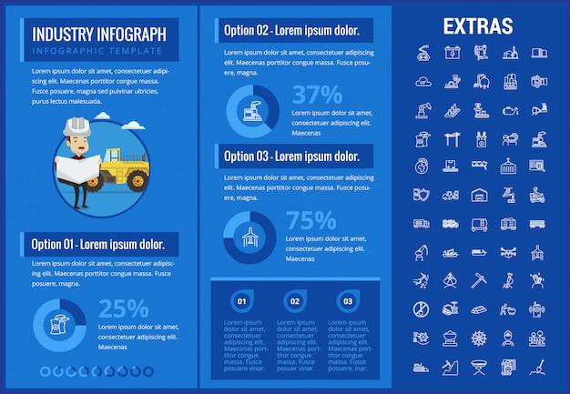 Шаблон инфографики, элементы и значки промышленности.
