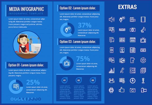 Медиа инфографики шаблон, элементы и значки