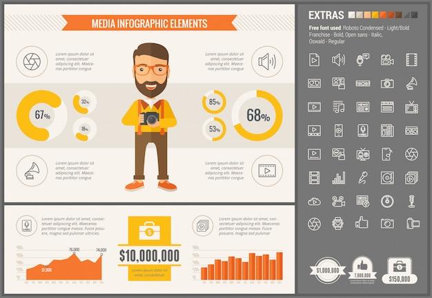 Медиа плоский дизайн инфографики шаблон и иконки