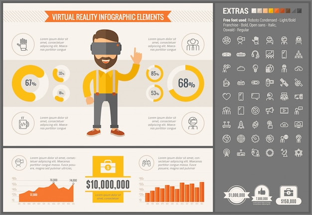 Виртуальная реальность плоский дизайн инфографики шаблон и иконки