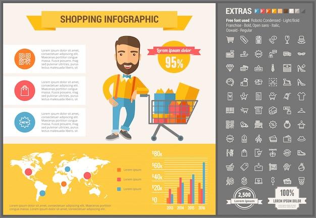 ショッピングフラットデザインインフォグラフィックテンプレートとアイコンセット