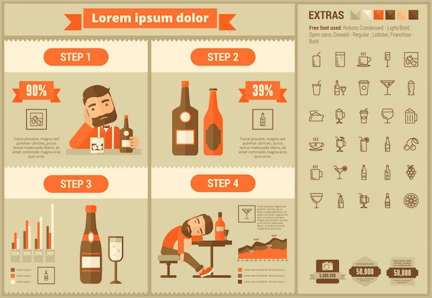 Напиток плоский дизайн инфографики шаблон и набор иконок
