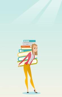 本の山を持つ学生はベクトルイラストです。