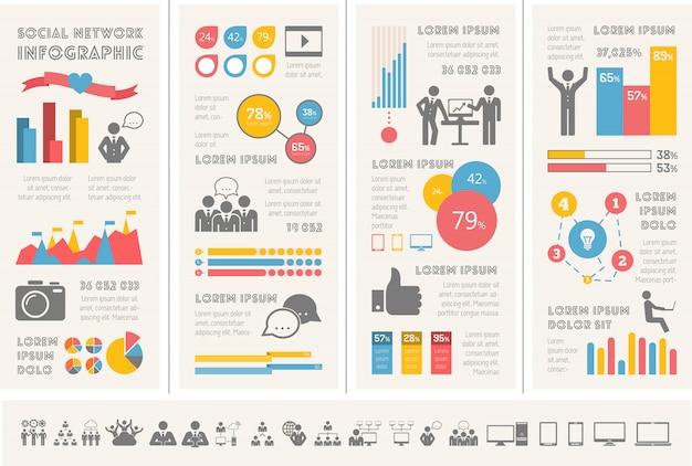 Социальные медиа инфографики шаблон.