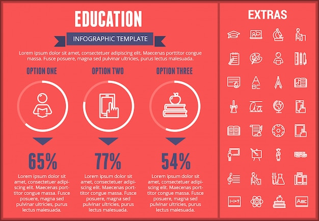 教育インフォグラフィックテンプレート、要素およびアイコン