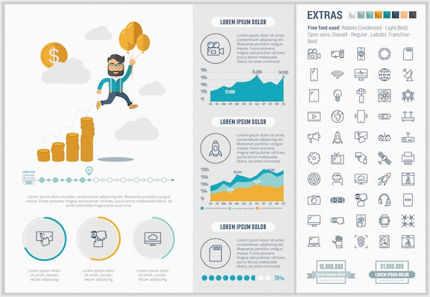 Запустите плоский дизайн инфографики шаблон и иконки