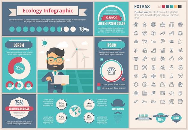 Экология плоский дизайн инфографики шаблон и набор иконок