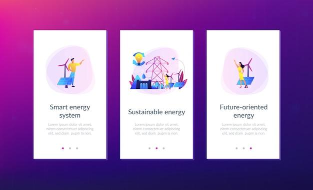 持続可能なエネルギーアプリのインターフェイステンプレート。