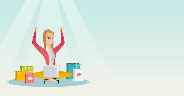 オンラインショッピングのためのラップトップを使用して白人女性