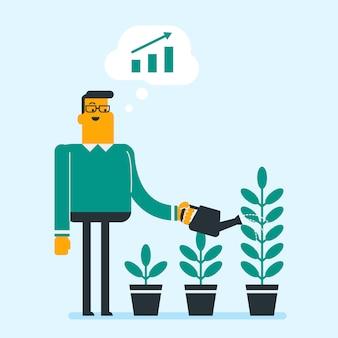 Бизнесмен поливает деревья трех размеров.