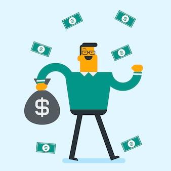 お金の雨の下で幸せな白人の白いビジネスマン。