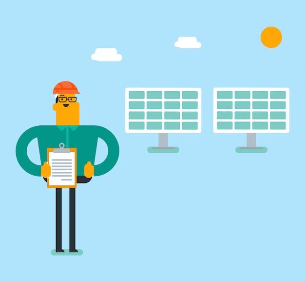 太陽光発電所の白人の白エンジニア。