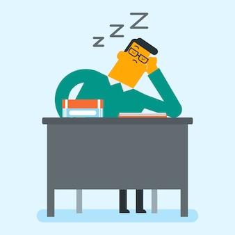 本を机の上に寝ている白人の学生。