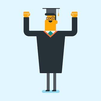 白人の卒業生が卒業の帽子を投げます。
