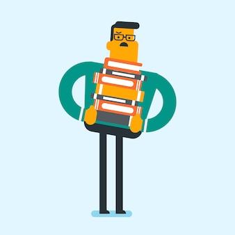 学生は背中に本の重い山を運ぶ。