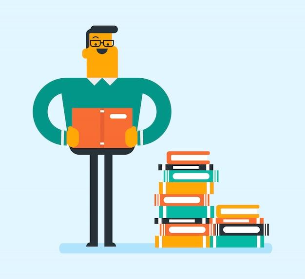 本の巨大な山に座っている白人の学生。