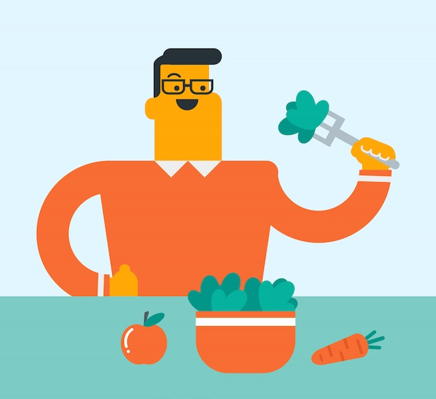 Кавказский белый человек ест салат из овощей