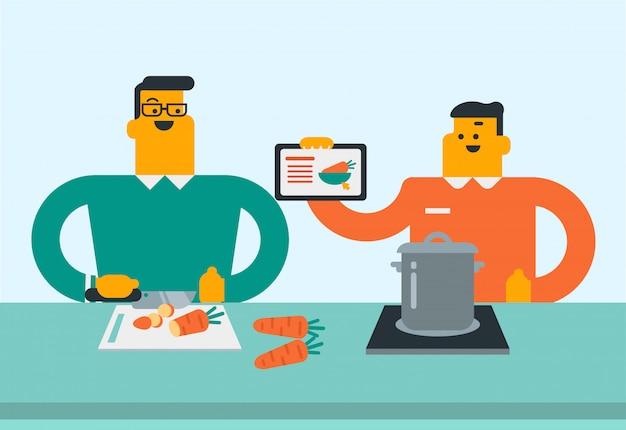 デジタルタブレットでレシピを探している女性。