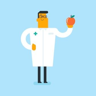 Кавказский белый диетолог, предлагая здоровое яблоко.