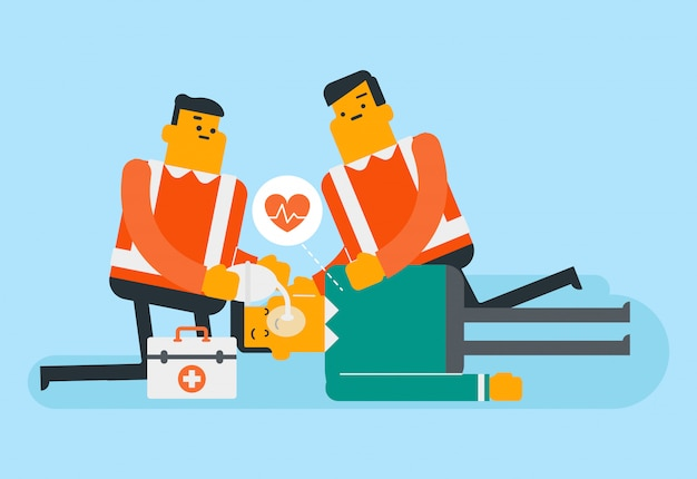 救急隊員は心肺蘇生法をやっています。
