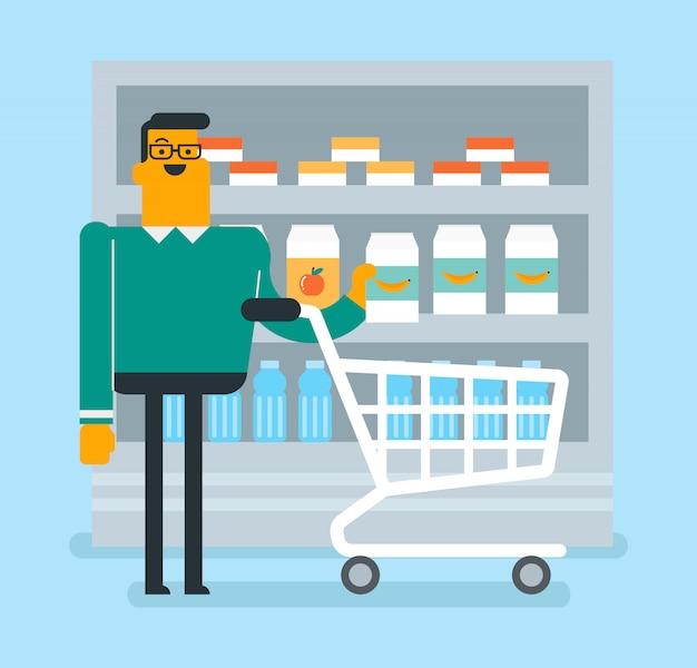 白人男がスーパーで買い物をしています。