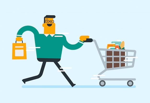食料品店で買い物をしている白人の男