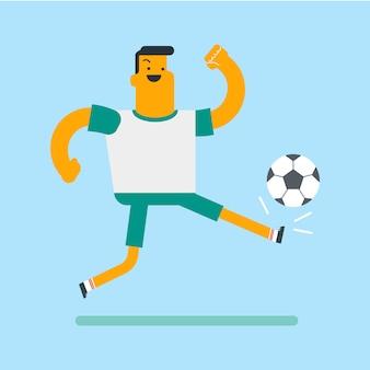 白人の白いサッカー選手がボールを蹴る。