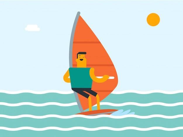 白人の白人男性が海でウィンドサーフィンします。