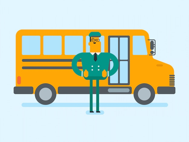 若い白人の白人スクールバスの運転手。