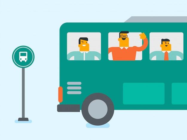 白人の白人男性がバスの窓から手を振っています。