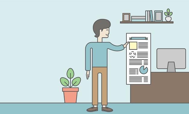 オフィスでインフォグラフィックを介して彼のレポートを提示するひげを持つ男。報告の概念