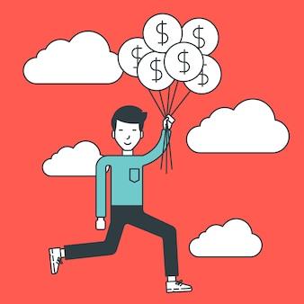 Бизнесмен летать с воздушными шарами.