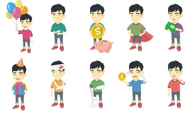 小さなアジアの少年キャラクターセット