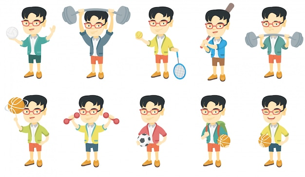 Маленький азиатский набор символов мальчика