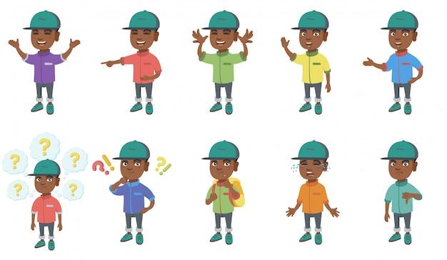Маленький африканский мальчик набор символов