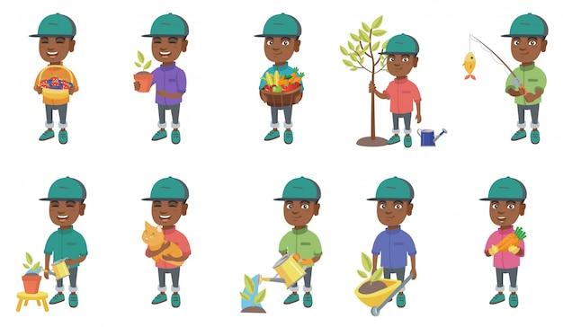 小さなアフリカの少年キャラクターセット