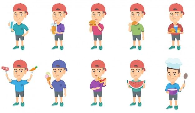 Маленький кавказский мальчик набор символов