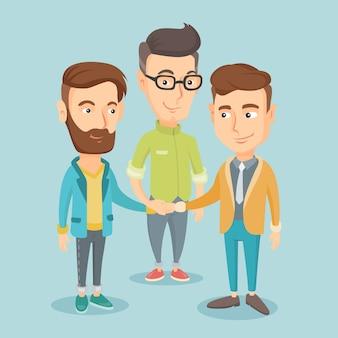 手に参加するビジネスの男性のグループ。