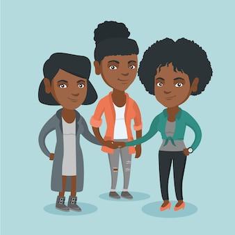 手に参加するアフリカのビジネス女性のグループ。