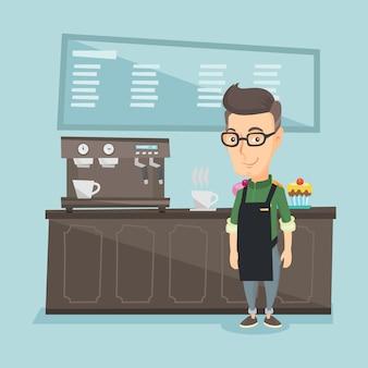 コーヒーマシンの近くに立っているバリスタ。