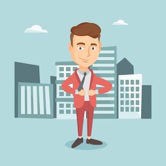 スーパーヒーローのような彼のジャケットを開くビジネスマン。