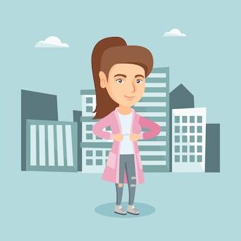 スーパーヒーローのような彼女のジャケットを開く実業家。