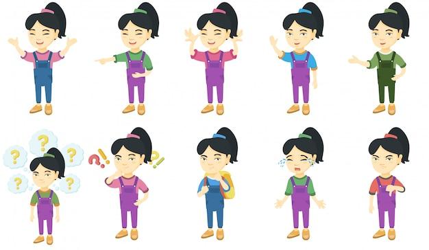 Маленькая азиатская девушка набор символов