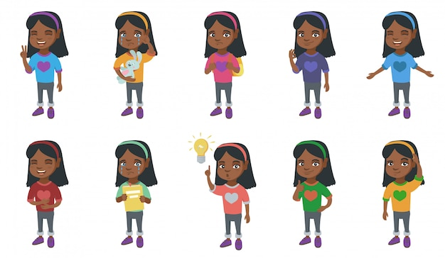 小さなアフリカの女の子キャラクターセット