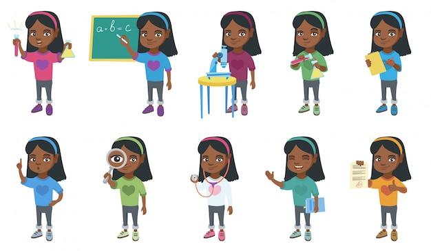 Маленькая африканская девушка набор символов