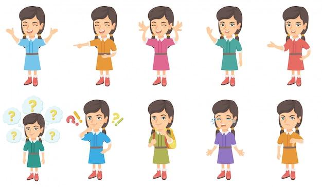 Маленькая кавказская девушка набор символов