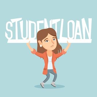 Кавказская женщина, держащая знак студенческого кредита.