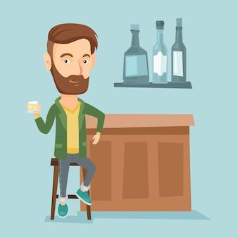 バーのカウンターに座って笑みを浮かべて男。