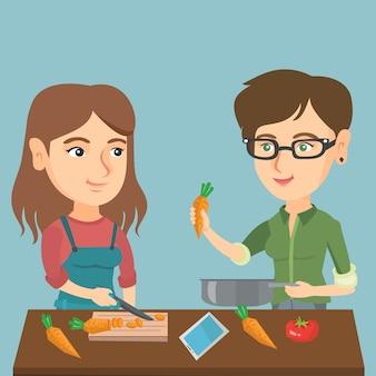白人女性の健康的な野菜の食事を調理します。